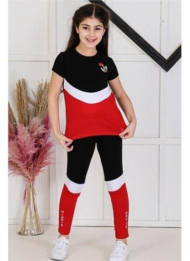 Riccotarz Kız Çocuk Minnie Mouse Şeritli Taytlı Takım Siyah